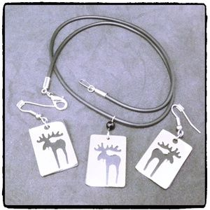 Jewelry - Moose Necklace and Ear Rings